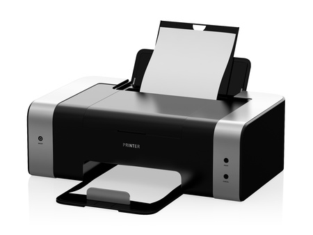 fotocopiadora: Ilustración 3D de la impresora láser moderna aislado sobre fondo blanco
