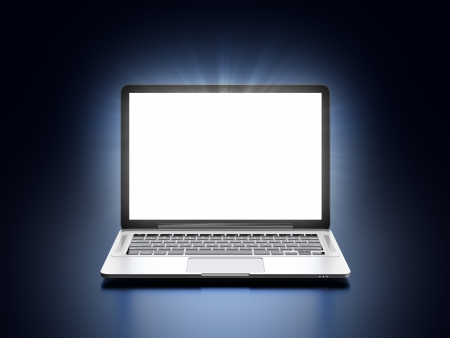 trackpad: 3D illustration of modern laptop with glowing screen on dark blue background