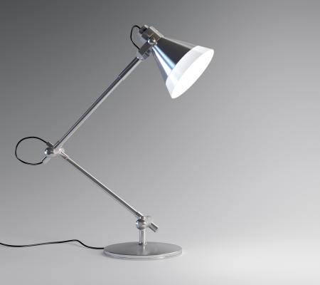 3D image of metal desk lamp isolated on dark background photo
