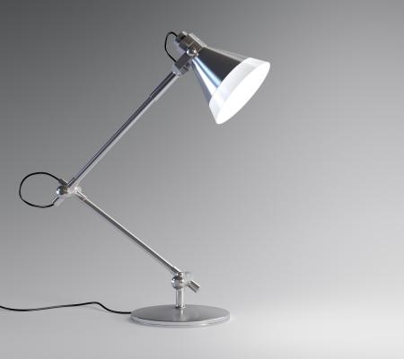 halogen lighting: 3D image of metal desk lamp isolated on dark background