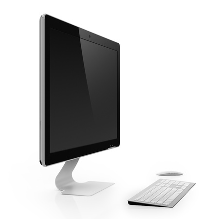 Computer monitor with black screen isolated on white background Stock Photo - 16815815