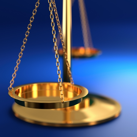 law scale: 3D illustration of scales of justice on blue background