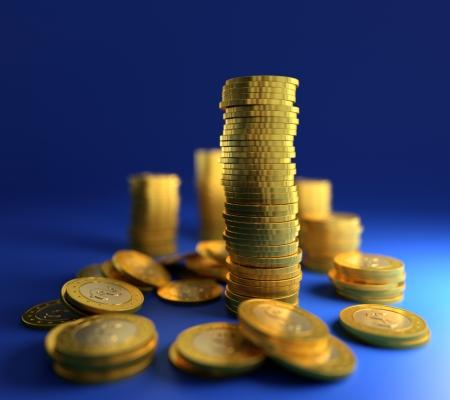 3D illustration of gold coin stack on blue background Stock Illustration - 17439053