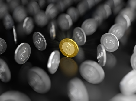 among: 3D illustration of gold coin among silver ones on dark background Stock Photo