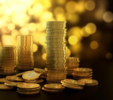 Illustrazione 3D di pila moneta d'oro su sfondo blu Archivio Fotografico