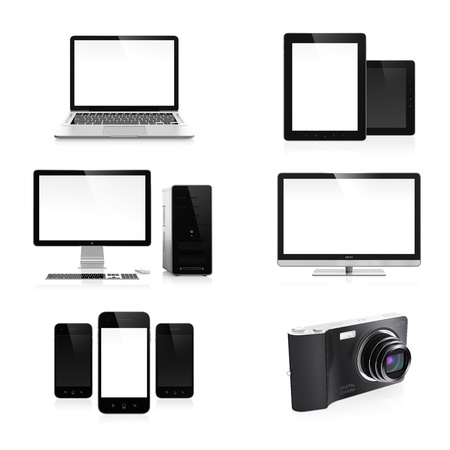High resolution image set of modern electronic devices isolated on white background photo