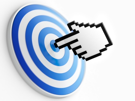 Abstract image of mouse pointer on bulls-eye. Symbol of right choice. Stock Photo - 17439020
