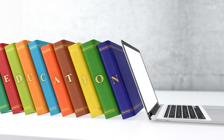 Computer generated 3D illustration of multi colored books in a row. Electronic education concept. Stock Photo