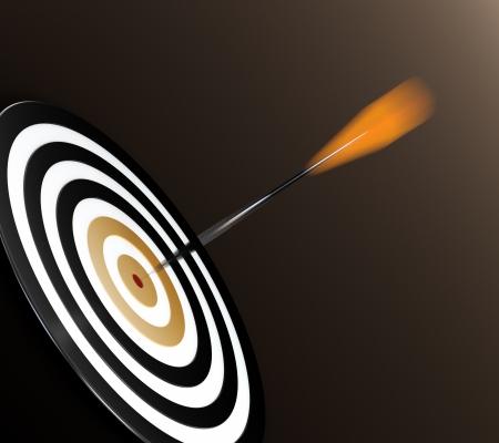 boogschutter: 3D illustratie van oranje pijltje dat doelen bullseye