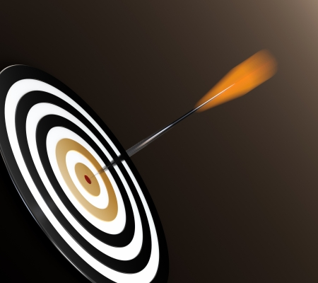 archer: 3D illustration of orange dart hitting targets bullseye Stock Photo