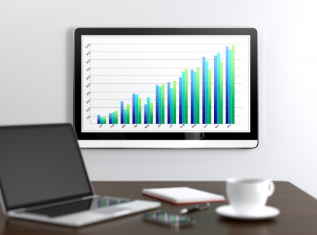 Meeting room with LCD display on wall showing growing chart Stock Photo - 17439032