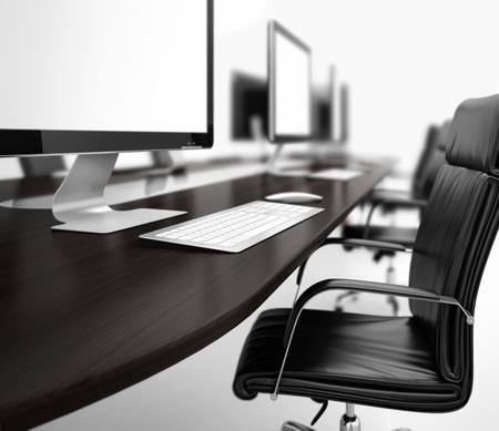mobiliario de oficina: Imagen generada por ordenador de la sala de trabajo con ordenadores en una fila Foto de archivo