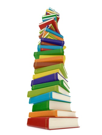 literary: Computer generated image of multi colored book stack isolated on white background