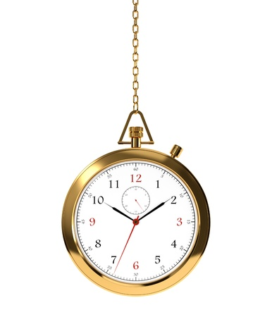 Computer generated image of golden clock isolated on white background Stock Photo - 17439013