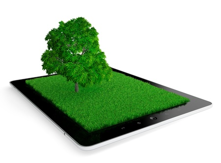 3D illustration of modern tablet computer with grass and tree on screen isolated on white Stock Illustration - 17439062