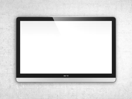 コンピューターは白い壁に現代的なテレビ スクリーンのイメージを生成されます。
