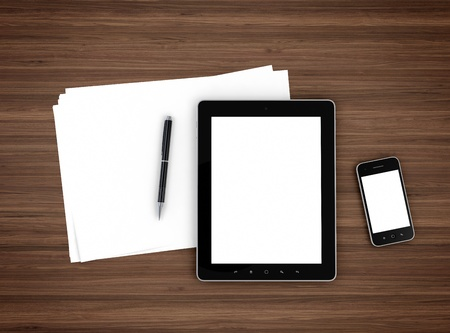 data sheet: 3d illustration of modern mobile devices, sheet of paper and pen on wooden table Stock Photo