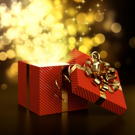 3D illustration of red gift box on dark background with golden bokeh Stock Photo