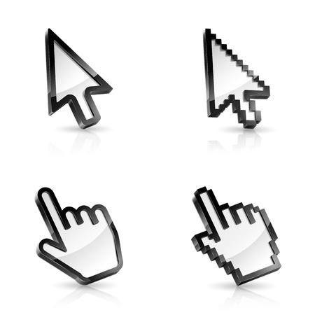 rat�n: Ilustraci�n vectorial de cuatro tipos de punteros del rat�n en el fondo blanco