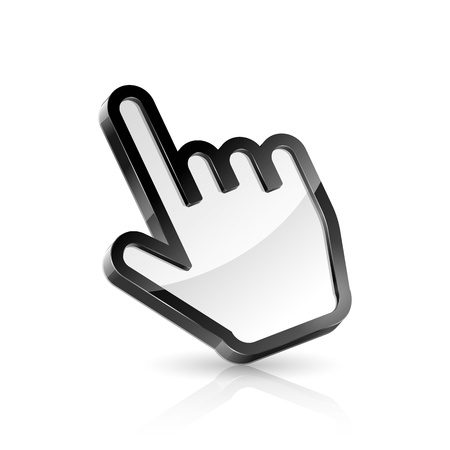 klik: Vector illustratie van de hand cursor op een witte achtergrond Stock Illustratie