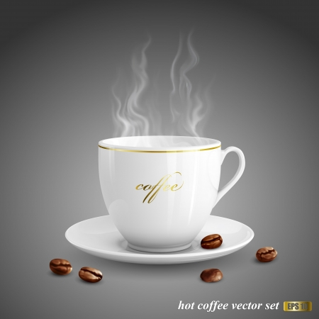 black smoke: Realistic vector illustration of cup of coffee on dark gray background Illustration