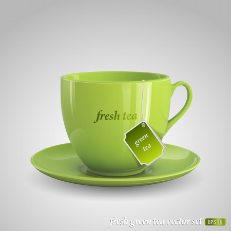 chinese tea: Realistic vector image of green cup of tea on gray background. Illustration