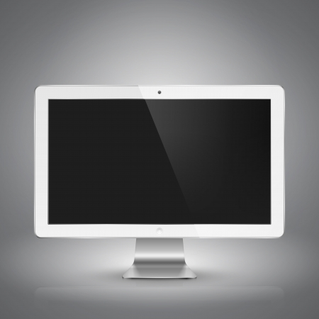 Realistic  illustration of white computer monitor with black screen. Stock Vector - 19319774