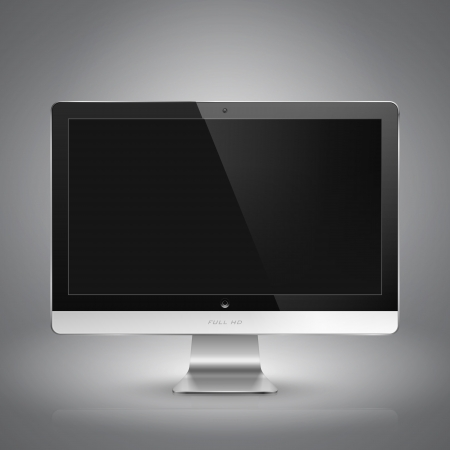 plasma monitor: Realistic  illustration of computer monitor with blank screen.