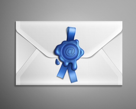 sealing wax: Realistic  image of e-mail envelope with blue ribbon and wax seal. Illustration