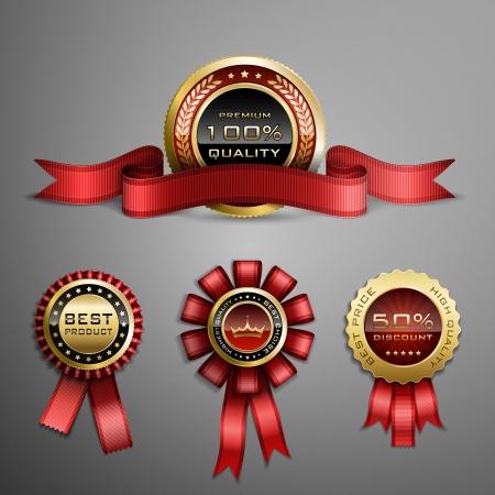 gold ribbon: Vector set of red award ribbons and golden medals Illustration