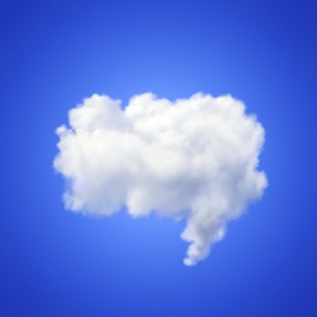 blue sky thinking: Realistic  image of speech cloud on blue background