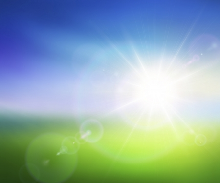 afterglow: Vector image of blurred summer background with sunrise and lens flares