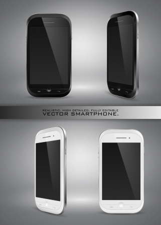 Realistic, high detailed, fully editable vector illustration of modern smartphone on gray background  Illustration