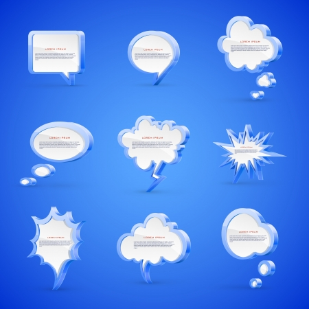 thought bubble: Vector set of high detailed 3d speech bubbles isolated on blue background