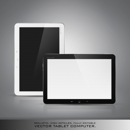 e new: Realistic high detailed vector illustration of tablet computer on dark background