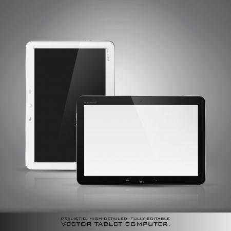 e reader: Realistic high detailed vector illustration of tablet computer on dark background