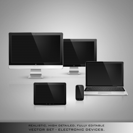 Realistic high detailed vector illustration of electronic devices on gray background. Stock Vector - 20217387