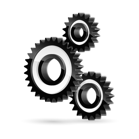 High detailed vector illustration of black cogwheels on white background.
