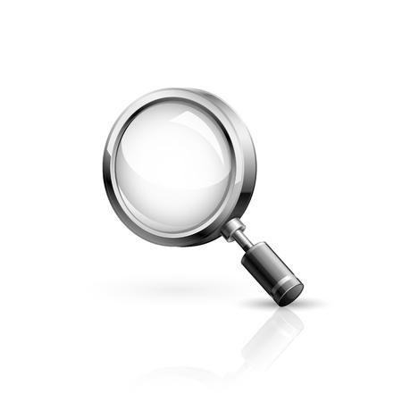 scrutiny: Realista ilustraci�n vectorial de alta detallada de icono de b�squeda.