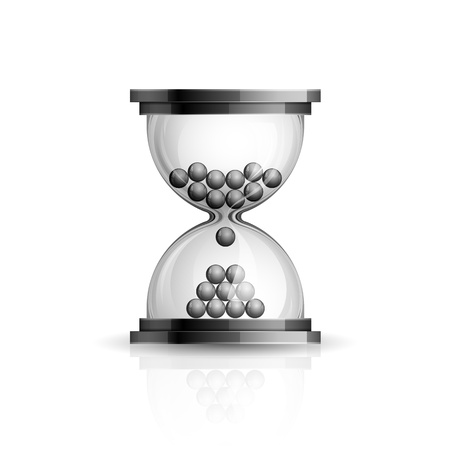 patience: Realistic high detailed vector illustration of hourglass icon on white background