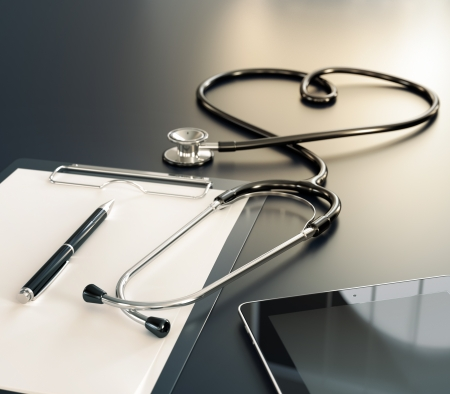 Stethoscope, medical record and computer tablet on the table