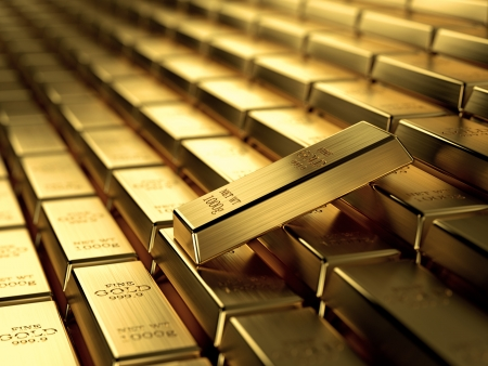 3d render of gold ingots in a row, wealth concept  photo