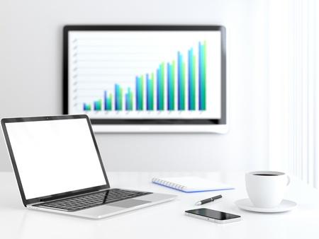 sala de reuniones: Sala de reuniones con pantalla LCD en la pared que muestra gr?fica creciente