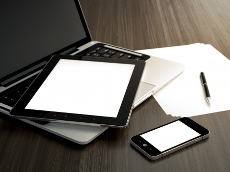 blank tablet: 3D illustration of office table with electronic devices and blank sheet of paper