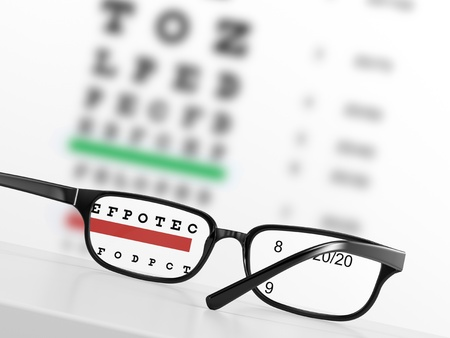 Looking through eye glasses at an blurred eye exam chart on background photo
