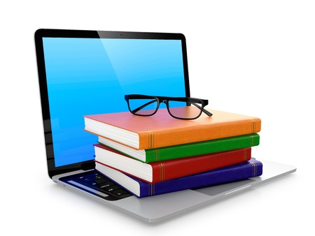 data dictionary: Laptop stack of books and glasses isolated on white background  Electronic education concept