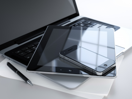 portable information device: 3D illustration of office table with electronic devices and blank sheet of paper