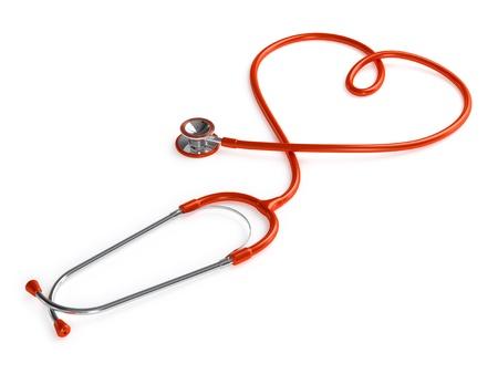 Heart shaped stethoscope isolated on white background  Stock Photo - 21523081