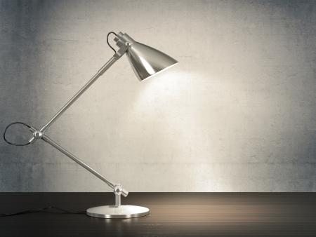 3D-beeld van metalen bureaulamp op houten bureau naast de betonnen muur