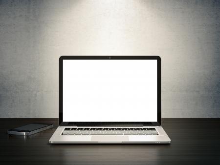 teclado: Ilustraci�n 3D de dispositivos electr�nicos en el escritorio de madera Foto de archivo